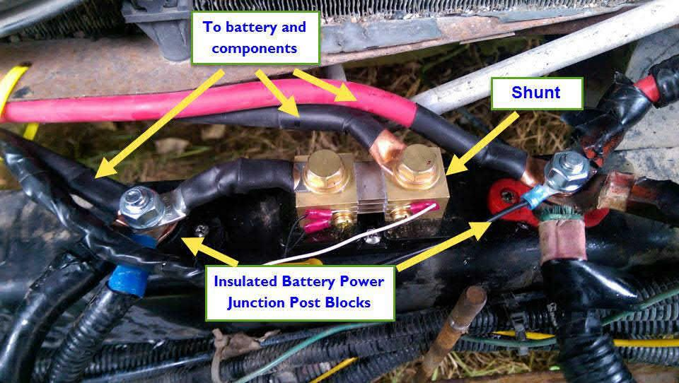 The Shunt Required For Trimark Battery Monitor Had To Be Mounted Frame In Engine Compartment Order Reduce Amount Of Cable